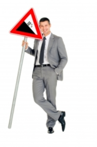 Businessman sign